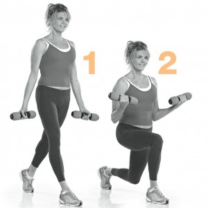 Lunge dip with bicep curl