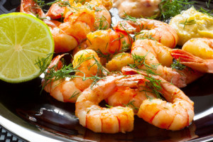 roasted shrimps with parsley