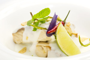 baked fish in cream sauce with lemon