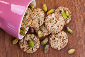 Close up of sesame seds cookies with pistachios