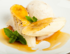 A delicious sweet dish made with banana, brown sugar, dark rum, butter and cinnamon