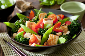 a bowl of tofu and vegetable stir fry.