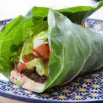 Seasoned nut loaf, guacamole, romaine lettuce, salsa & almond nut cheese wrapped in a collard leaf.