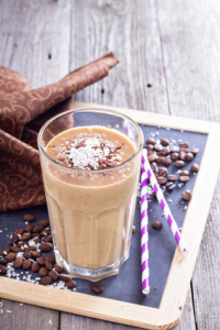 Coconut coffee chocolate smoothie on a chalk board