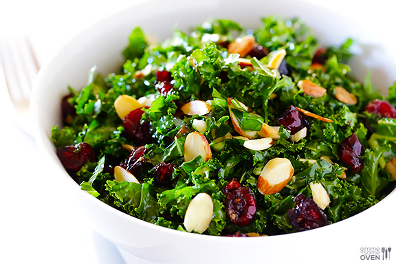 Kale Salad With Warm Cranberry Almond Vinaigrette