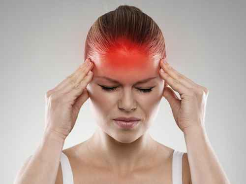 Woman having headache or dizziness problem. Healthcare concept